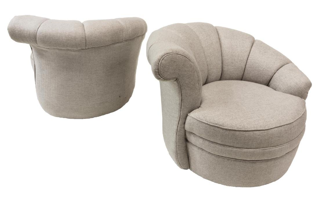 (2) CONTEMPORARY BOUCLE UPHOLSTERED ARMCHAIRS - 2