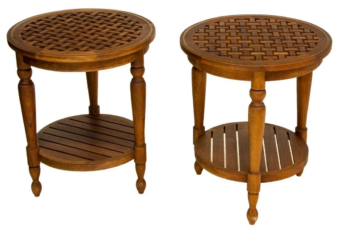 (PAIR) SUMMER CLASSICS 'OCEAN' TEAK PATIO TABLES