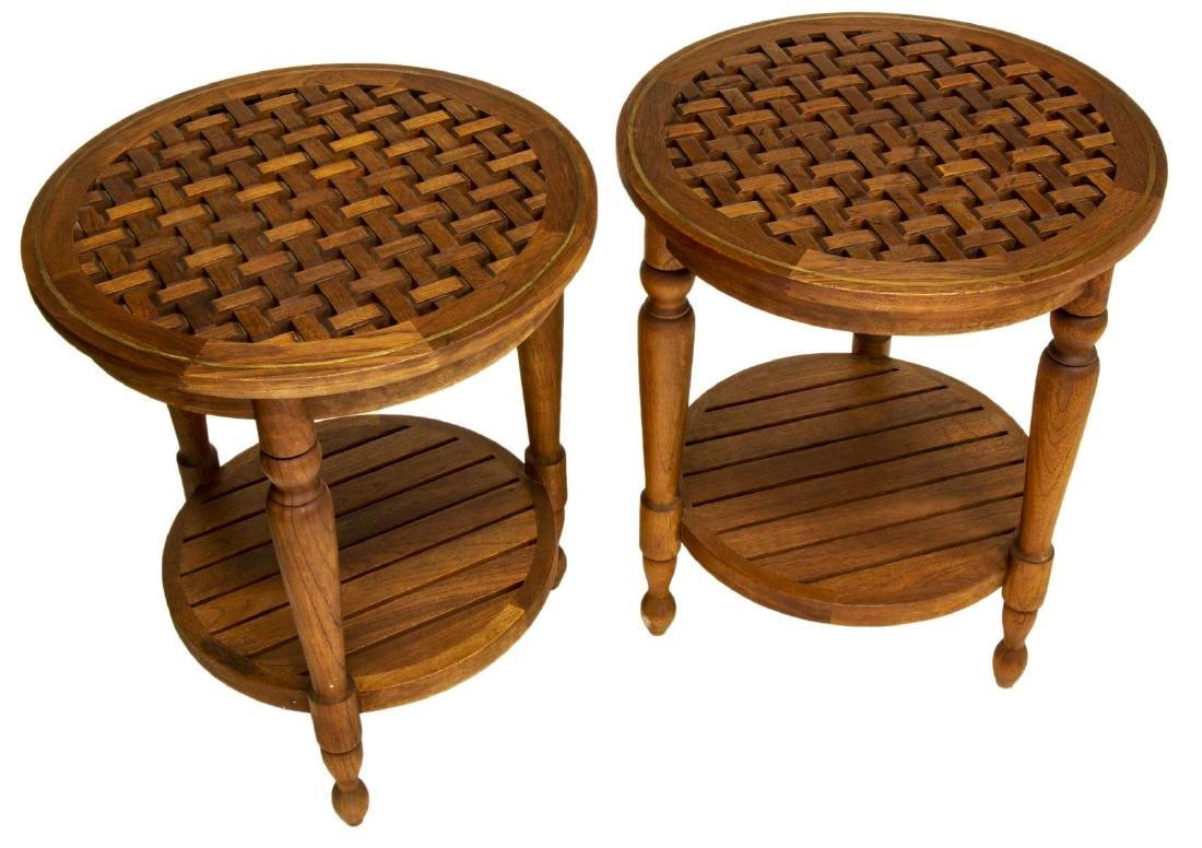 (PAIR) SUMMER CLASSICS 'OCEAN' TEAK PATIO TABLES - 2