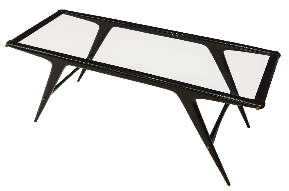 ITALIAN MID-CENTURY MODERN GLASS TOP COFFEE TABLE