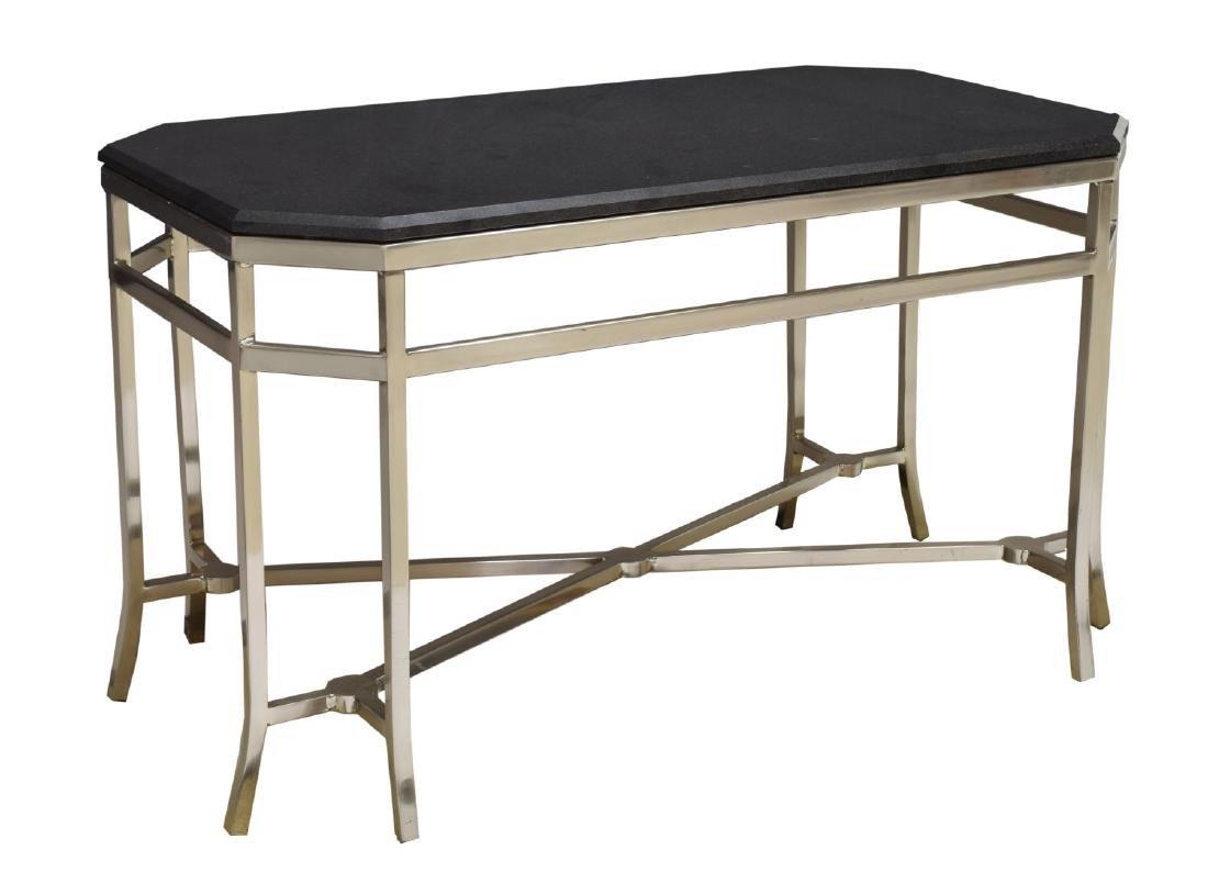 MODERN MARBLE TOP CHROMED STEEL COFEE TABLE