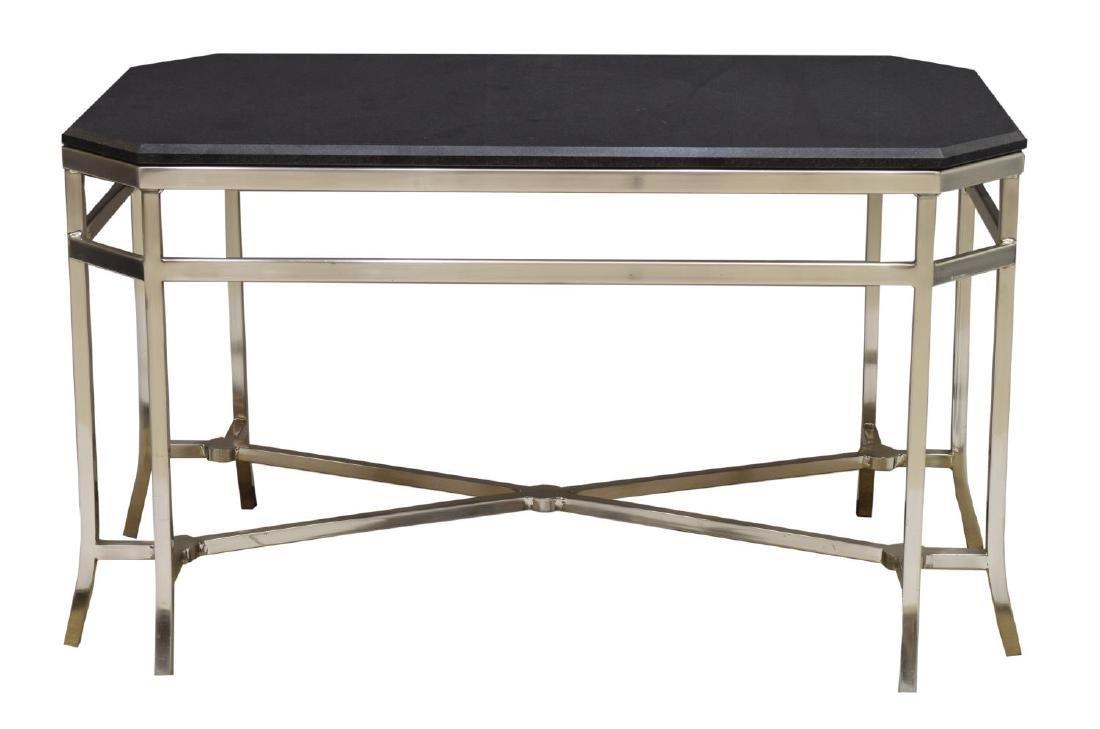 MODERN MARBLE TOP CHROMED STEEL COFEE TABLE - 2