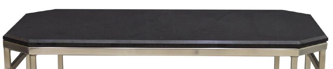 MODERN MARBLE TOP CHROMED STEEL COFEE TABLE - 3