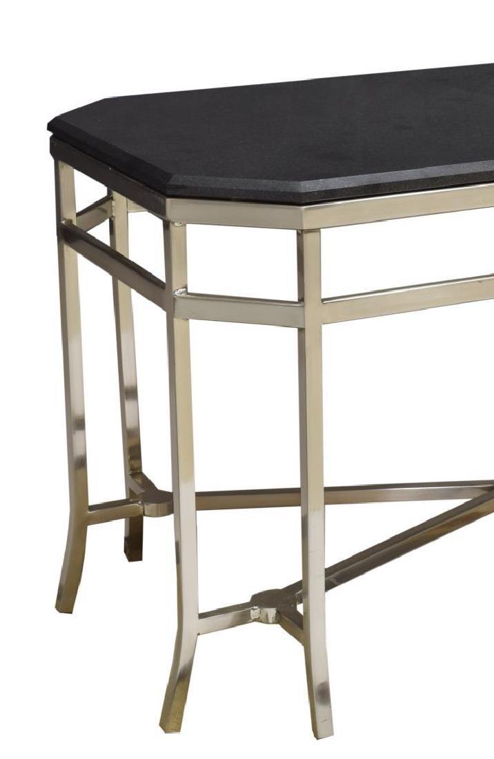 MODERN MARBLE TOP CHROMED STEEL COFEE TABLE - 4