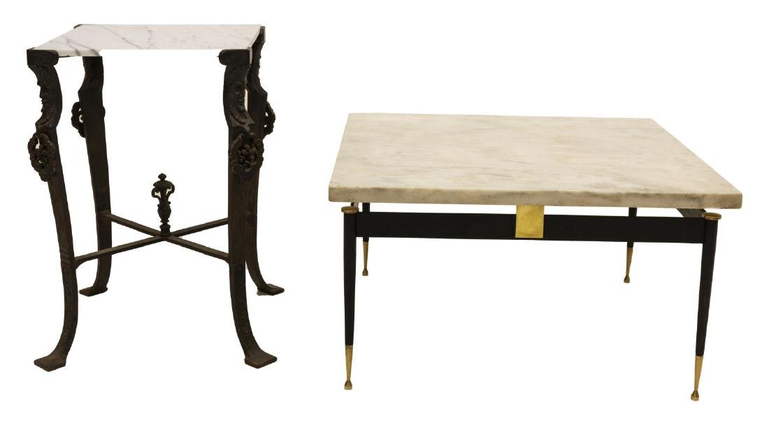 2) MID-CENTURY & FIGURAL MARBLE & IRON SIDE TABLES