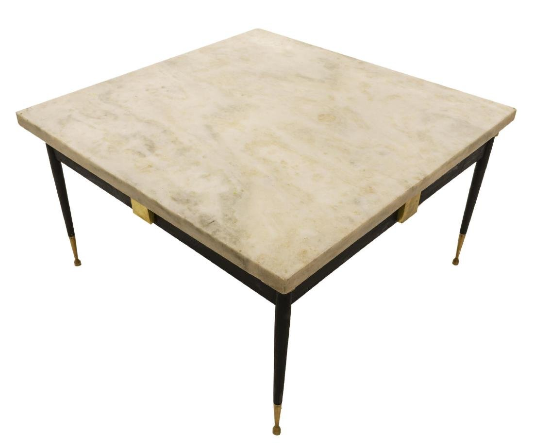 2) MID-CENTURY & FIGURAL MARBLE & IRON SIDE TABLES - 2