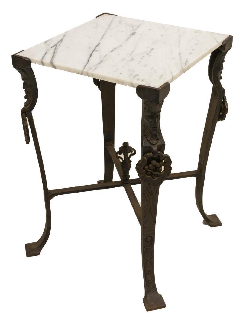 2) MID-CENTURY & FIGURAL MARBLE & IRON SIDE TABLES - 3