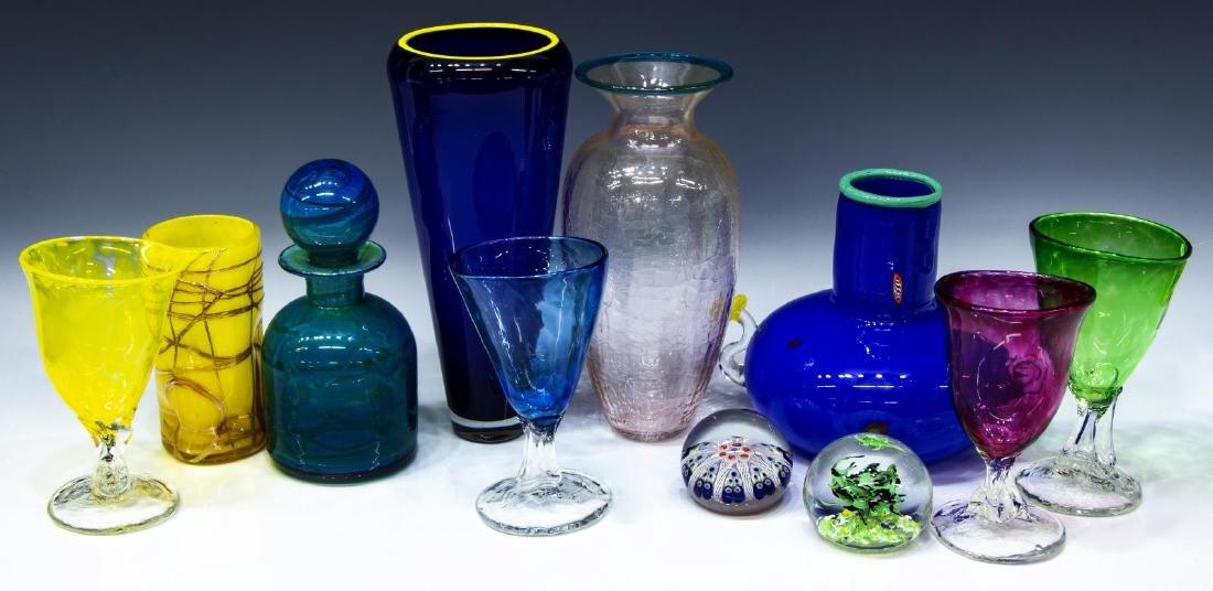 (11) COLLECTION OF STUDIO ART GLASS GOBLETS, VASES