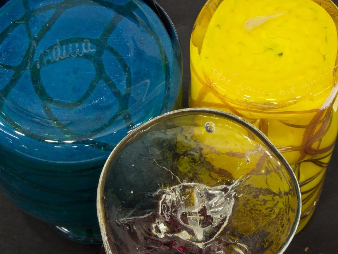 (11) COLLECTION OF STUDIO ART GLASS GOBLETS, VASES - 5