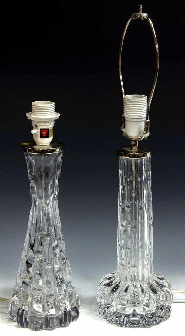 (2) CARL FAGERLUND ORREFORS ART GLASS TABLE LAMPS