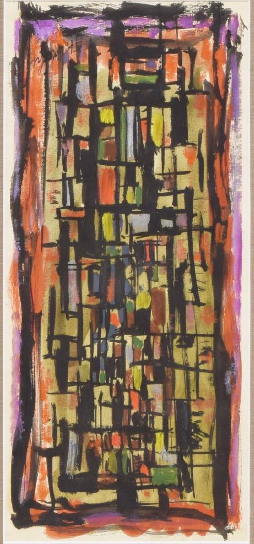 MID-CENTURY FRAMED ABSTRACT PAINTING ON PAPER