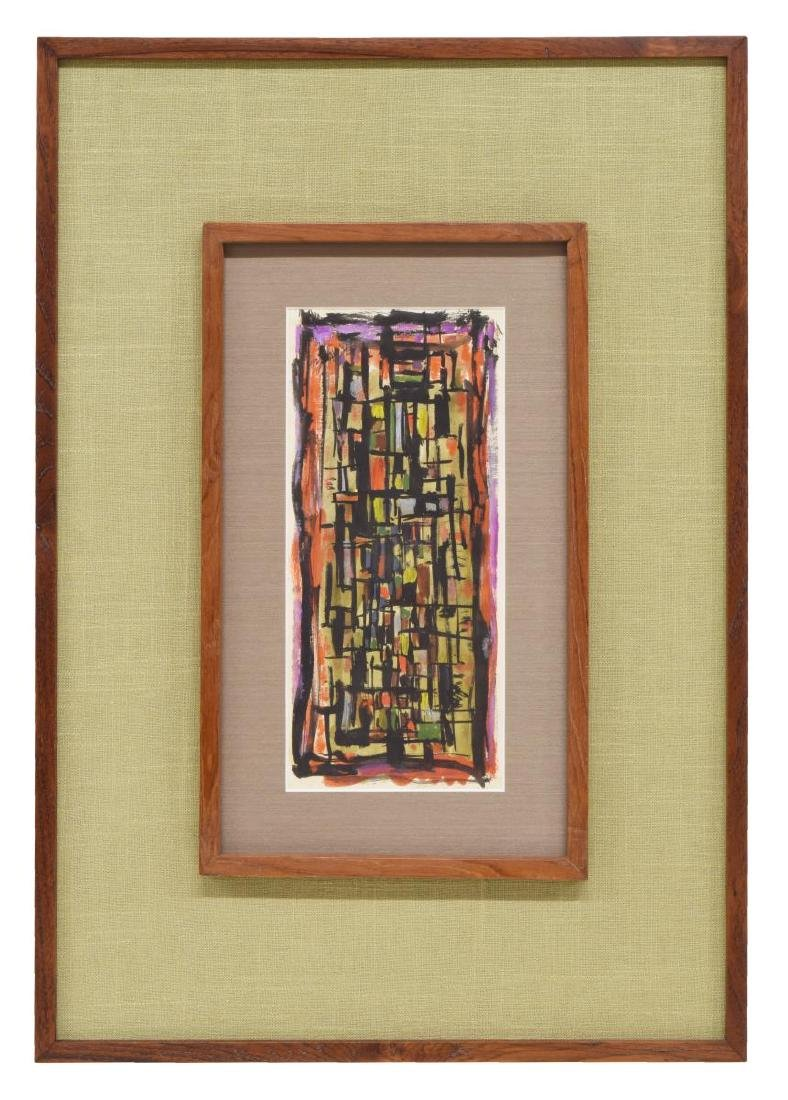 MID-CENTURY FRAMED ABSTRACT PAINTING ON PAPER - 2