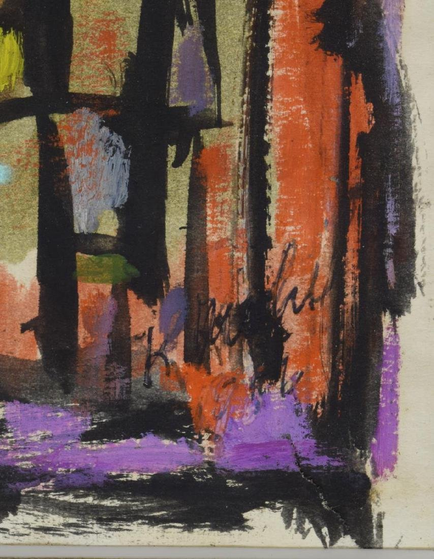 MID-CENTURY FRAMED ABSTRACT PAINTING ON PAPER - 3
