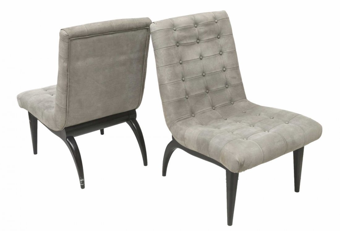 (2) FRENCH MODERN BUTTON-TUFTED LEATHER CHAIRS - 2