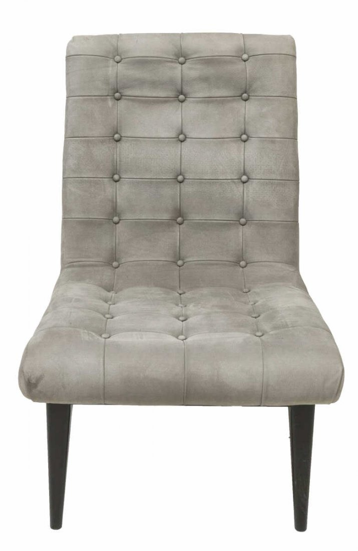 (2) FRENCH MODERN BUTTON-TUFTED LEATHER CHAIRS - 3