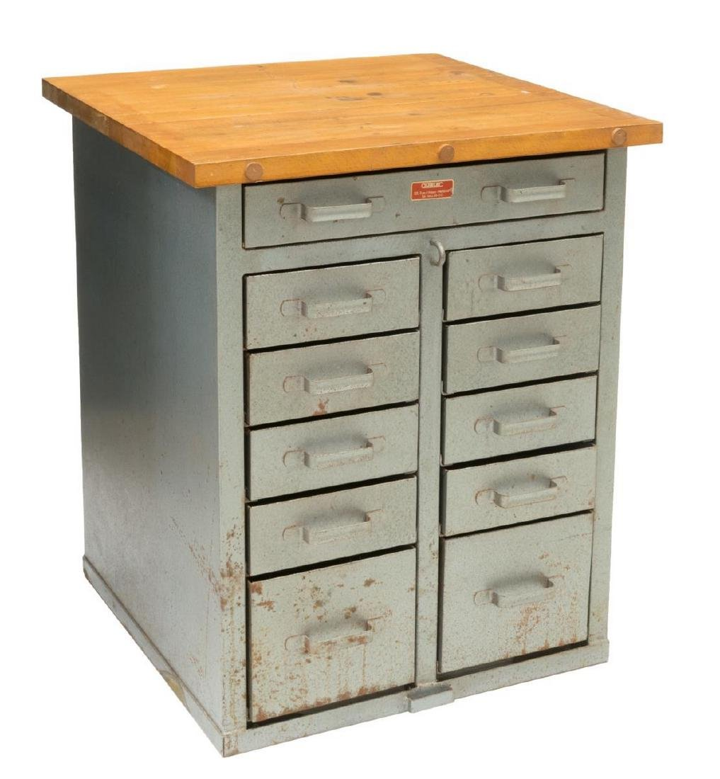 FRENCH INDUSTRIAL STYLE PINE & METAL CABINET