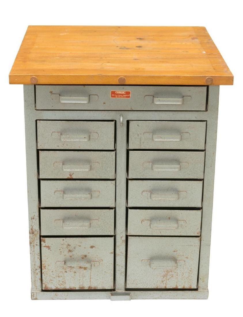FRENCH INDUSTRIAL STYLE PINE & METAL CABINET - 2