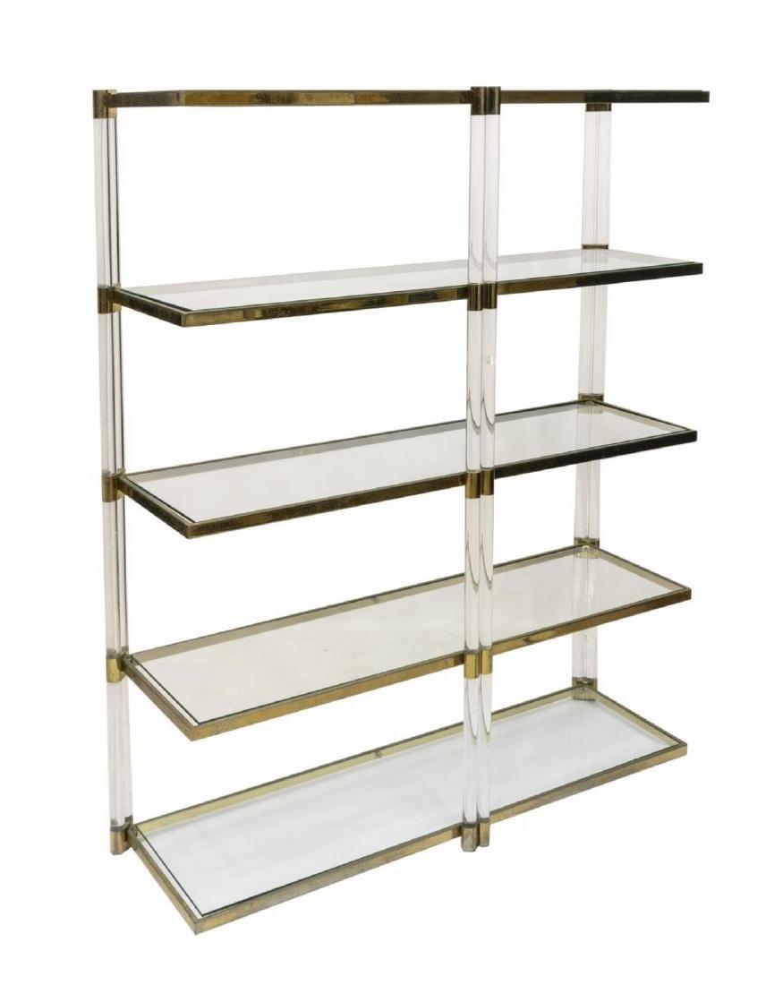 Italian Modern Acrylic Glass Five Shelf Bookcase