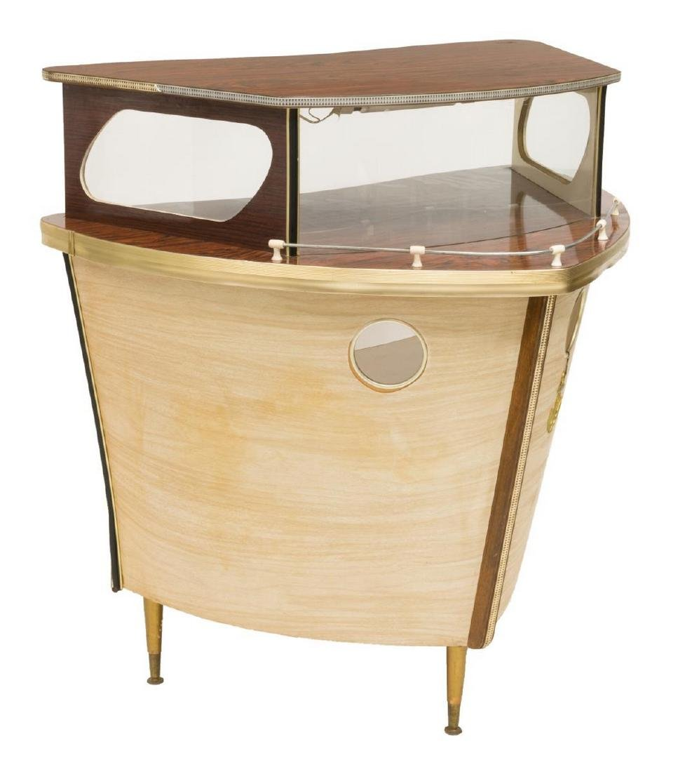 FRENCH MID-CENTURY BAR FORMED AS THE BOW OF A SHIP