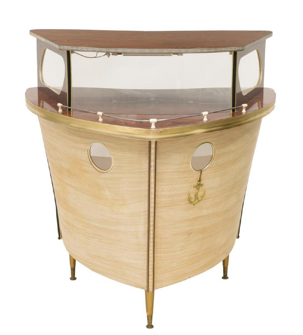 FRENCH MID-CENTURY BAR FORMED AS THE BOW OF A SHIP - 3