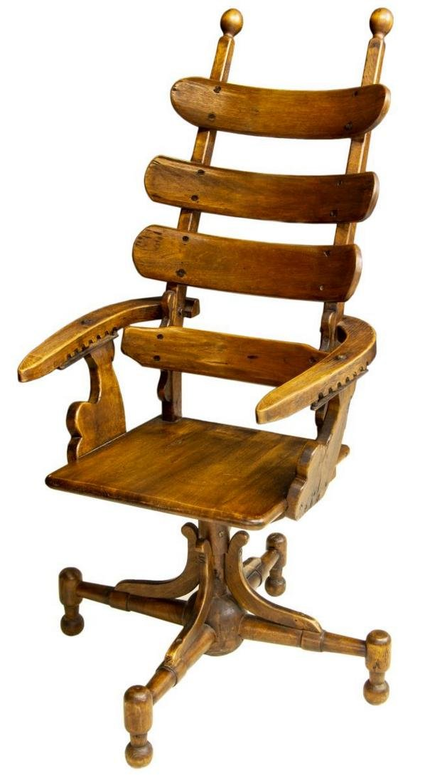UNUSUAL ALL WOOD MORRIS RECLINING CHAIR