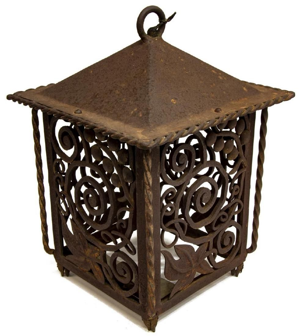 FRENCH CAST IRON LANTERN, EARLY 20TH C.