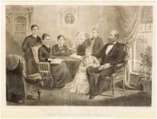 FRAMED ENGRAVING, PRESIDENT GARFIELD & FAMILY