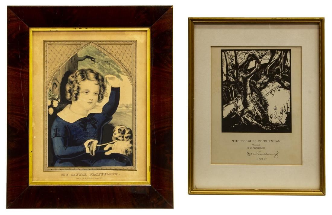 (2) FRAMED CURRIER LITHOGRAPH & WOODCUT PRINTS