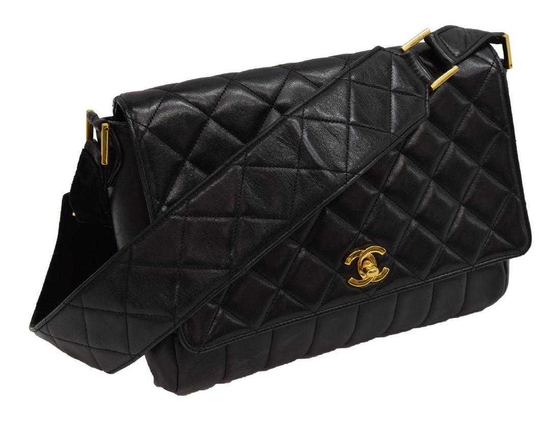 4e52cd0324ed09 CHANEL BLACK QUILTED LEATHER & VELVET SHOULDER BAG