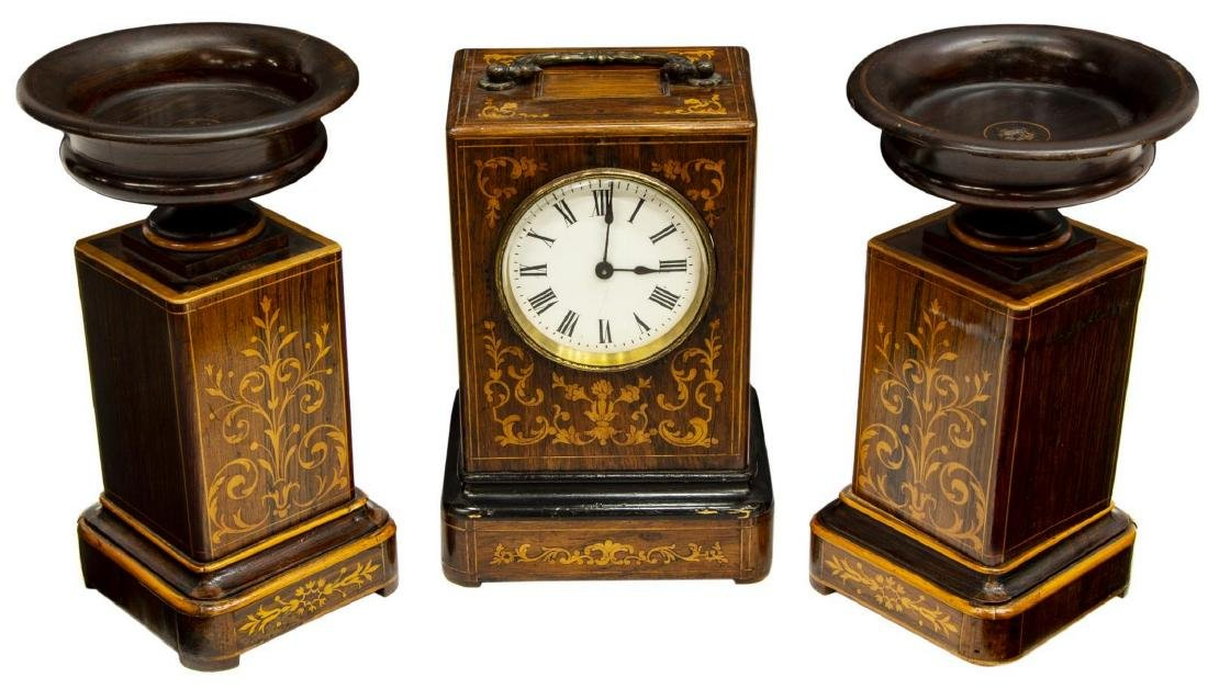 (3) ENGLISH ROSEWOOD FOLIATE MARQUETRY CLOCK SET