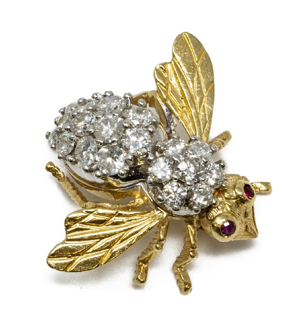 ESTATE 14KT GOLD 1.25CTTW DIAMOND & RUBY BEE PIN