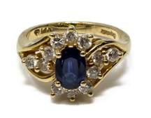 LADIES ESTATE 14KT GOLD SAPPHIRE  DIAMOND RING