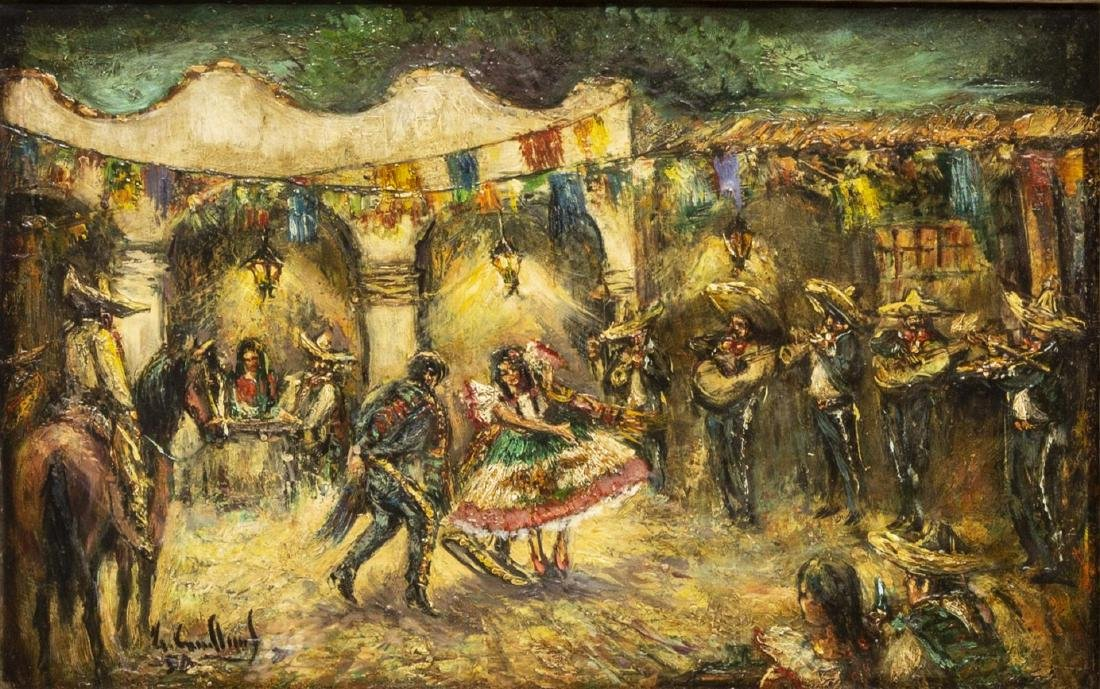 FRAMED OIL PAINTING, DANCERS & MARIACHI MUSICIANS
