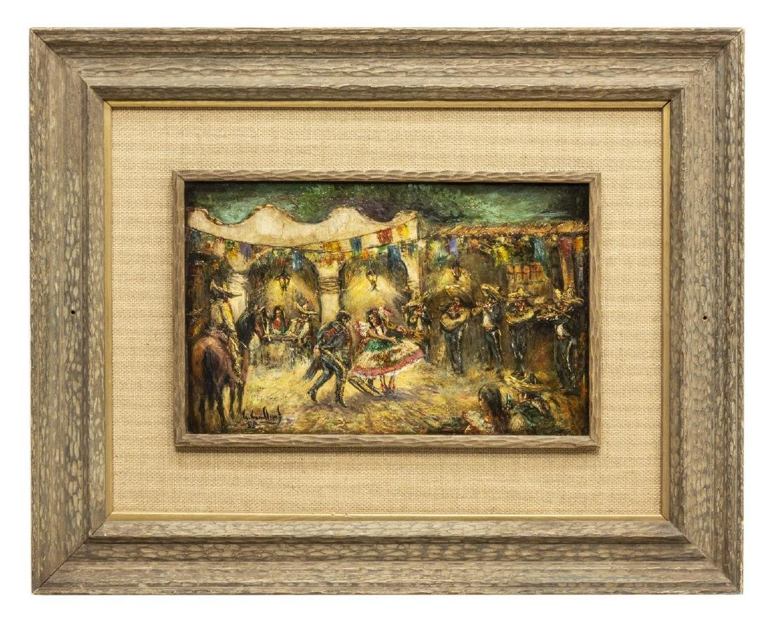 FRAMED OIL PAINTING, DANCERS & MARIACHI MUSICIANS - 2