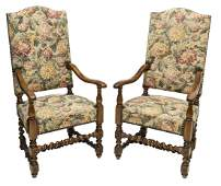 (2) FRENCH LOUIS XIV STYLE TAPESTRY ARM CHAIRS