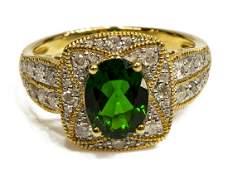 ESTATE 14KT GOLD, CHROME DIOPSIDE & DIAMOND RING