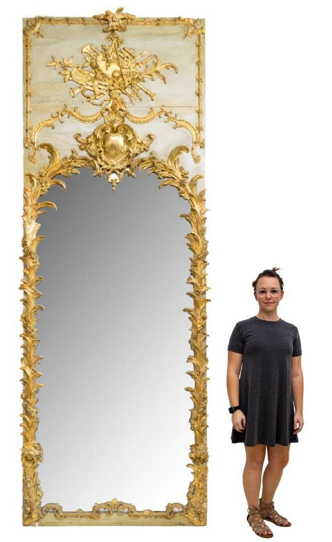 MONUMENTAL LOUIS XVI STYLE PAINTED & GILDED MIRROR