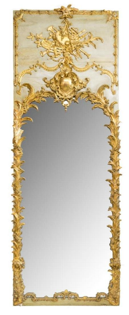 MONUMENTAL LOUIS XVI STYLE PAINTED & GILDED MIRROR - 2
