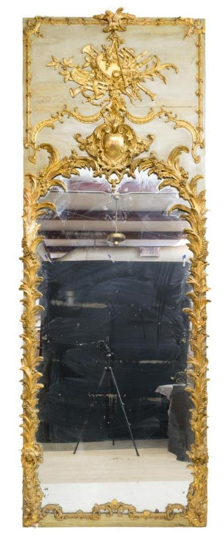 MONUMENTAL LOUIS XVI STYLE PAINTED & GILDED MIRROR - 3