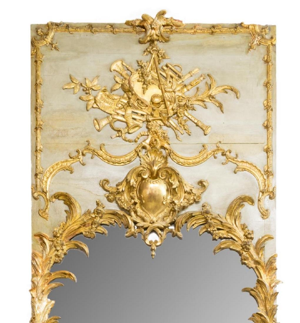 MONUMENTAL LOUIS XVI STYLE PAINTED & GILDED MIRROR - 4