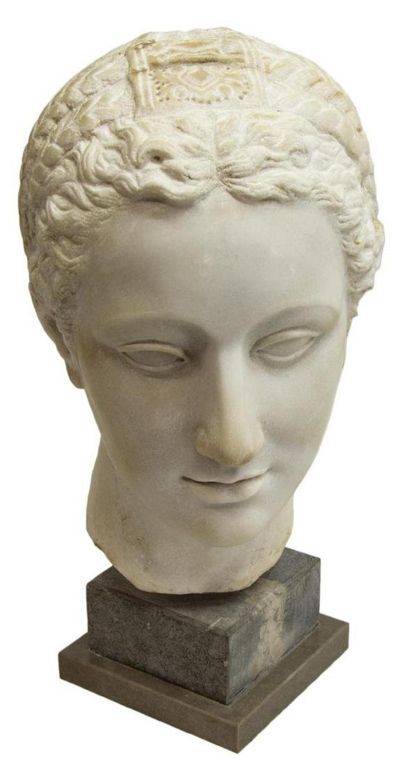 """MARBLE BUST OF A GREEK WOMAN, 11.5""""H"""
