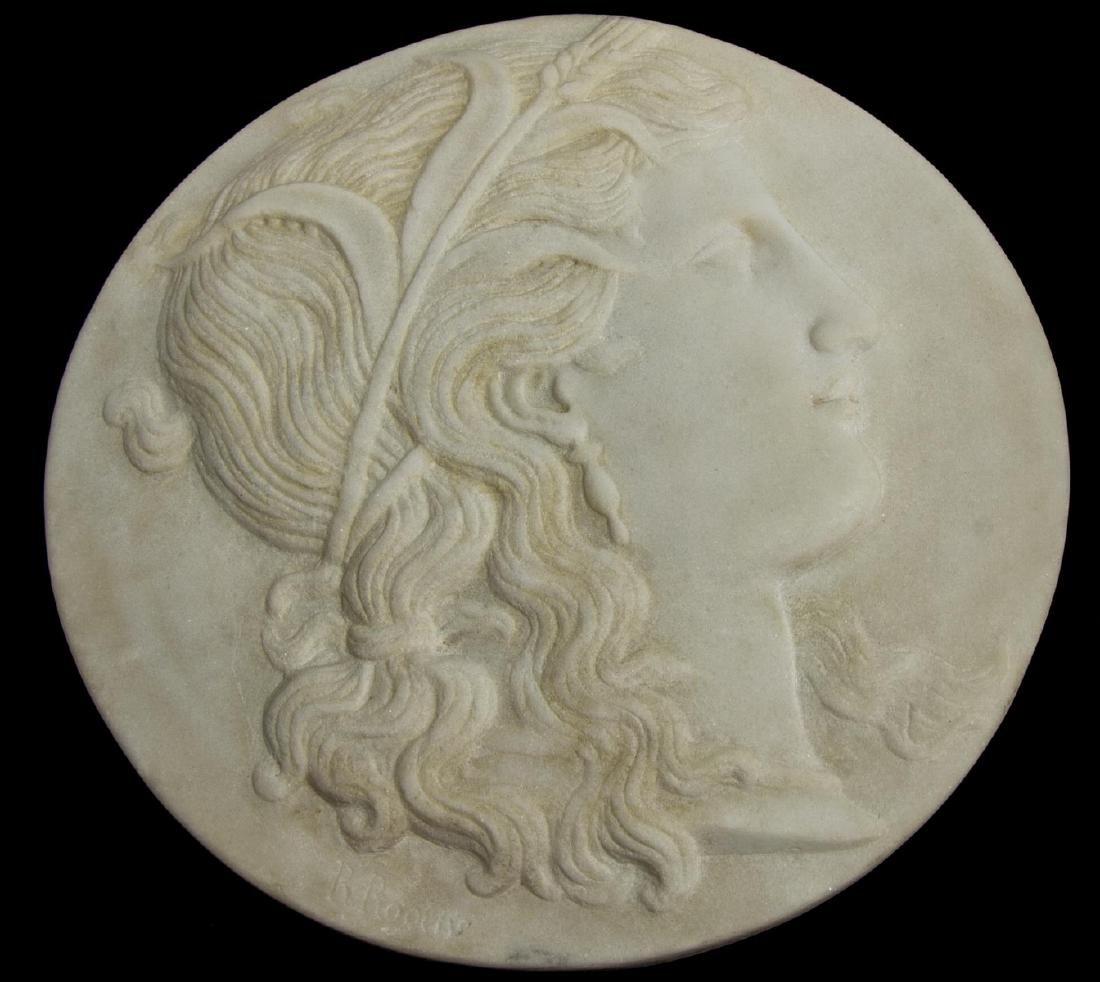 RANDOLPH ROGERS (1825-1892) RELIEF MARBLE PLAQUE