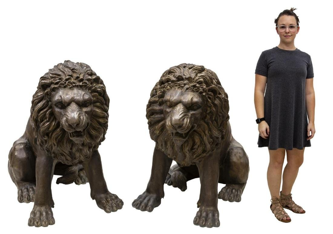 (2) NEAR LIFE-SIZE PATINATED BRONZE SEATED LIONS - 2