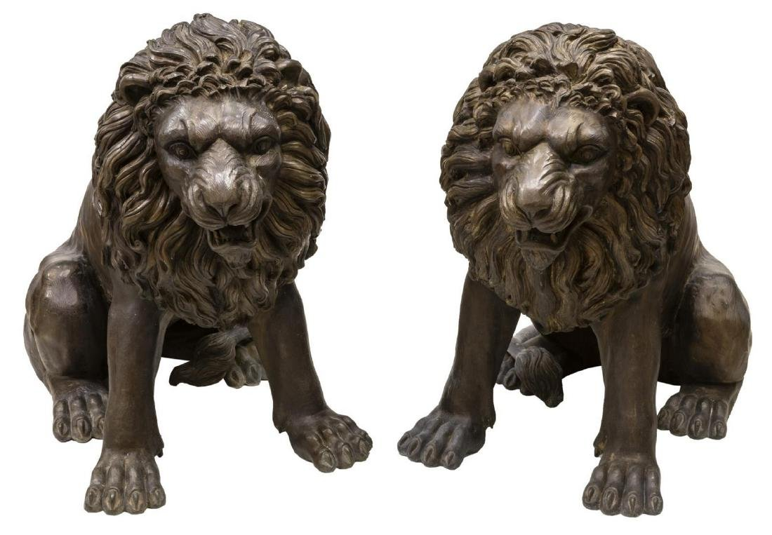 (2) NEAR LIFE-SIZE PATINATED BRONZE SEATED LIONS - 3