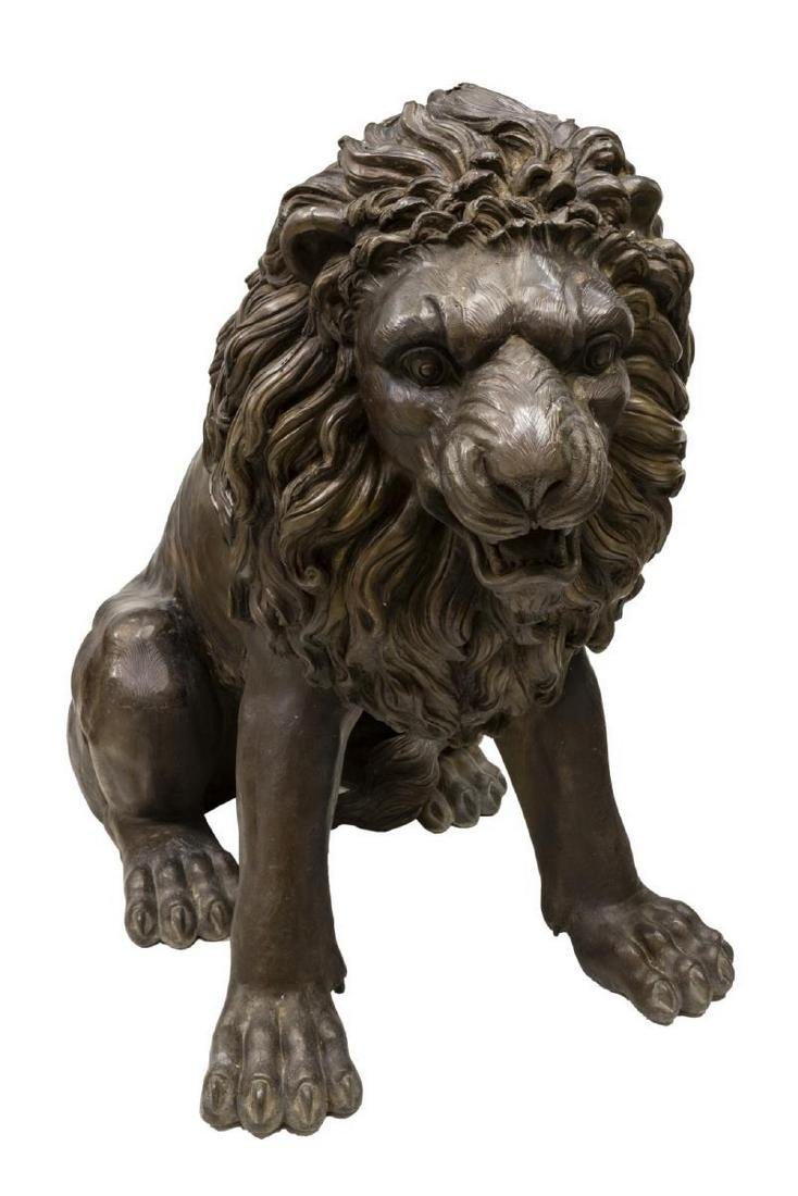 (2) NEAR LIFE-SIZE PATINATED BRONZE SEATED LIONS - 4