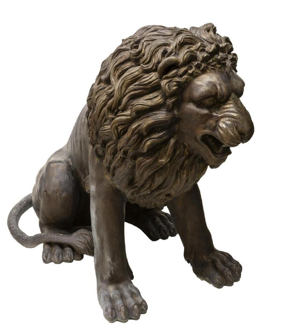 (2) NEAR LIFE-SIZE PATINATED BRONZE SEATED LIONS - 5