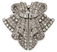 ART DECO 7.76CTTW DIAMOND & PLATINUM BROOCH / CLIP