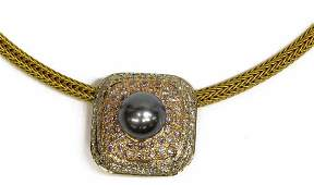 18K 459CTTW DIAMOND  BLACK PEARL SLIDE NECKLACE