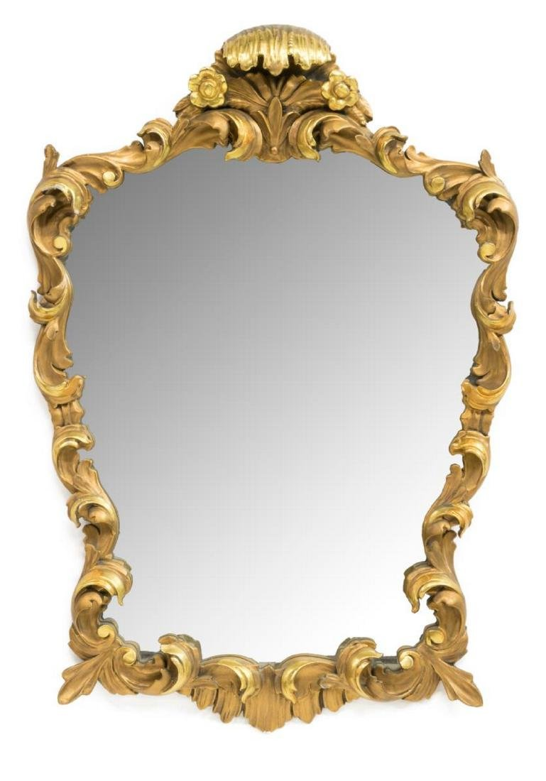 LOUIS XV STYLE GOLD LEAF ACCENTED WALL MIRROR
