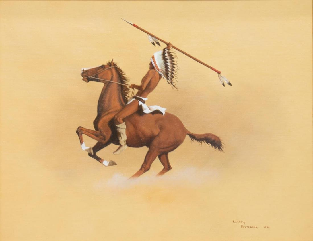 KELLEY PATTERSON (20THC.) INDIAN RIDER PAINTING